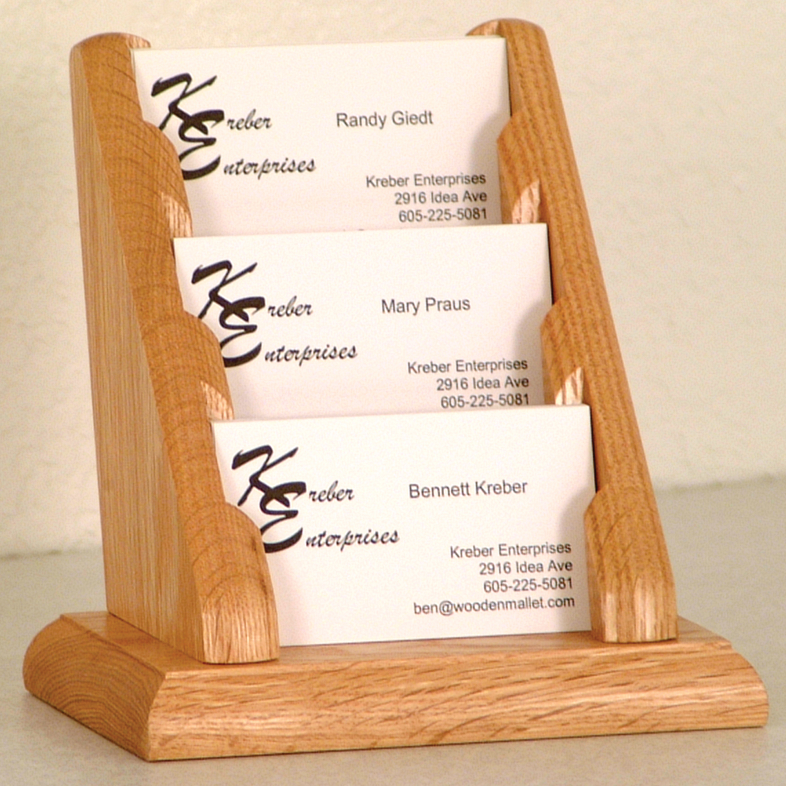 Wooden Mallet | Oak Business Card Racks