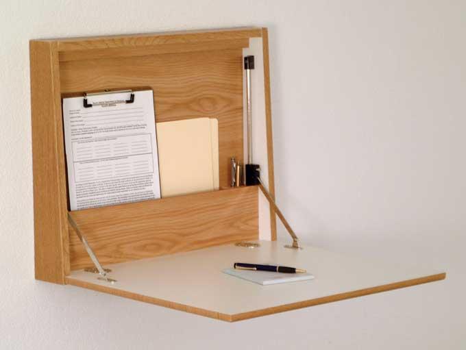 Wooden mallet wall desk laptop workstation Fold down desk